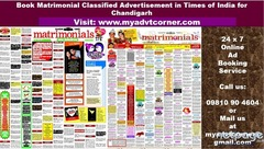 Times of India Chandigarh Matrimonial Classified Advertisement